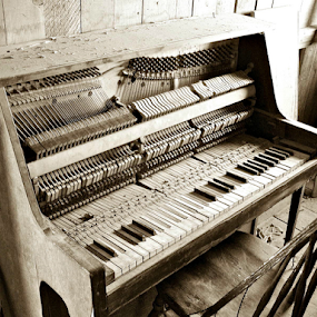 Piano by Deborah Russenberger - Buildings & Architecture Decaying & Abandoned ( sepia, piano, ghost towns )
