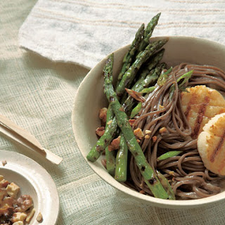 Soba with Grilled Asparagus and Sea Scallops with Sweet Miso Sauce