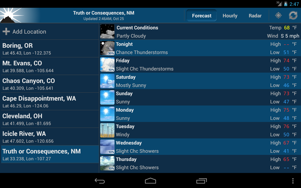 NOAA Weather - screenshot