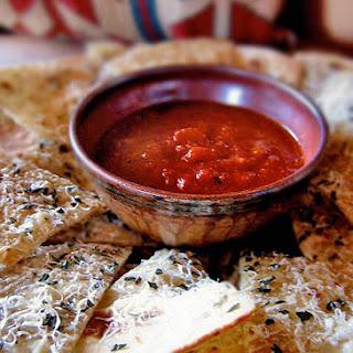 Parmesan Rice Crisps with Roasted Tomato Salsa