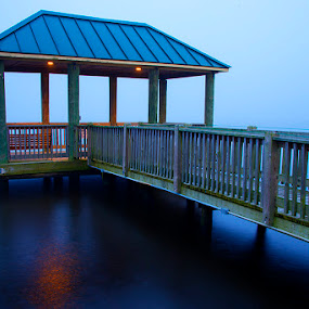 Fog in The Distance by John Goff - Buildings & Architecture Bridges & Suspended Structures ( sunrise, new bern )