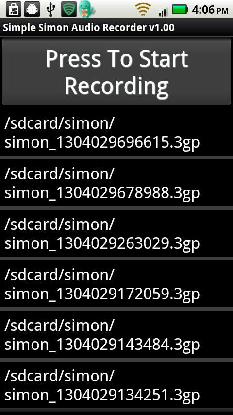 Simple Simon Voice Recorder- screenshot
