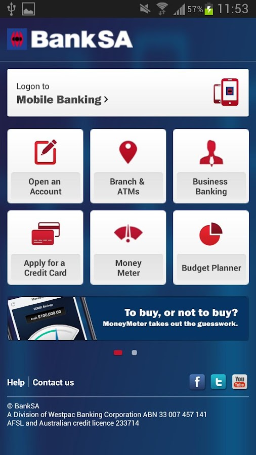 BankSA Mobile Banking App - screenshot