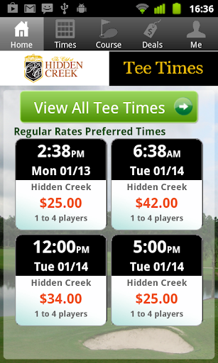 Hidden Creek Golf Tee Times