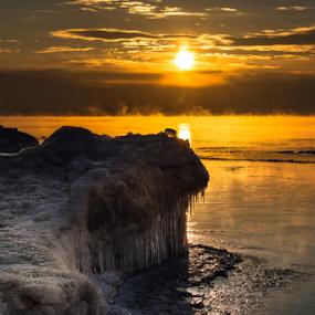 Long Cold Winter by James Meyer - Landscapes Waterscapes ( iceberg, ice shelf, ice formation, seascape, sunrise, daybreak, frozen tundra )