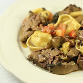 Braised Beef Short Ribs with Tortelloni in a Marsala Cream Sauce (Slow Cooker Recipe).