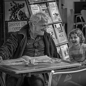 Tickle Tickle: Gramps and Me! by Jay Gould - Black & White Street & Candid ( black and white, 2014, family, tenerife, street,  )