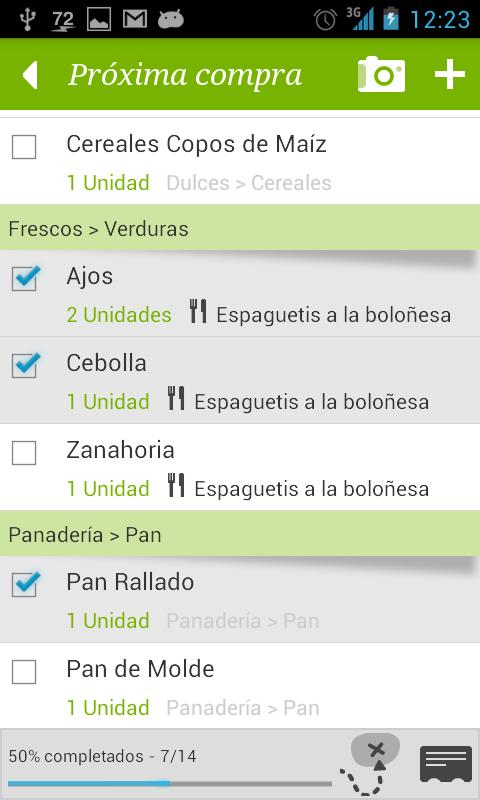 Grocery list - Greenlist - screenshot