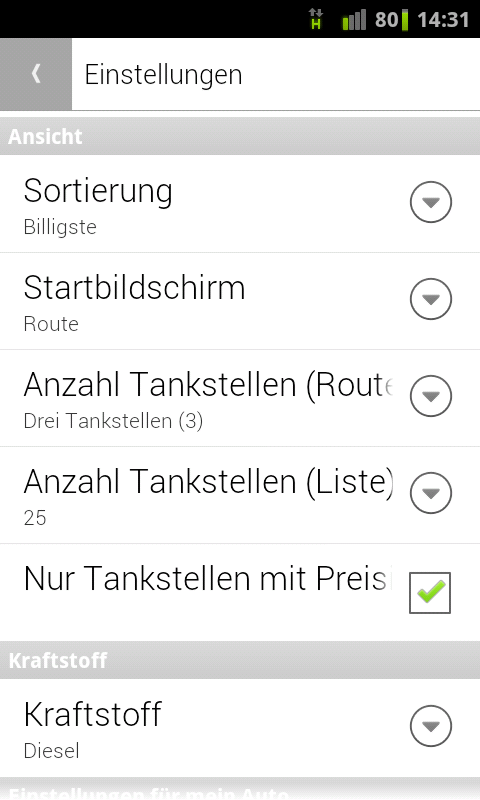 Spritpreis Route - screenshot