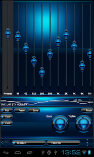 Poweramp skin Black Blue Screenshot