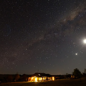 Home by Graham MacDougall - Landscapes Starscapes ( home, moon, stars, landscapes by night, armidale, night, landscape, pwc 96,  )