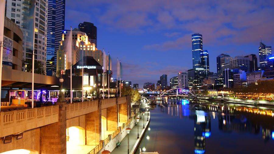Swanston Street Bridge by Michael Coleman - City,  Street & Park  Night