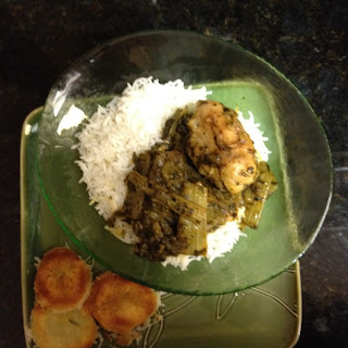 Iranian / Persian Herbed Celery Chicken with Crispy Potato-Crusted Rice.