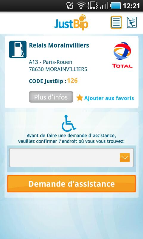 JustBip Assistance – Capture d'écran