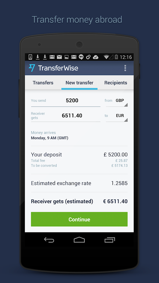 TransferWise Money Transfer - screenshot