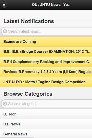 JNTU / OU News - screenshot