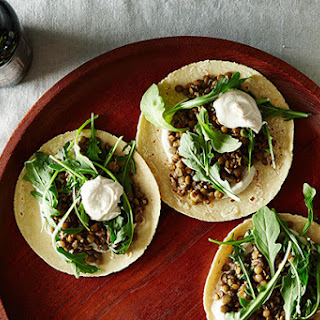 Mushroom-Lentil Tacos with Tahini Yogurt Sauce.