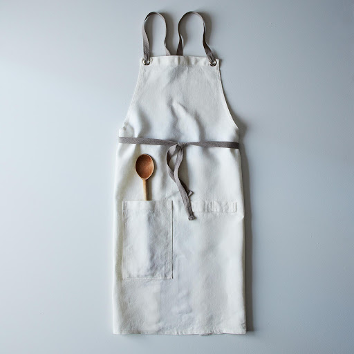 Cross-Back Linen Kitchen Apron with Slate Ties