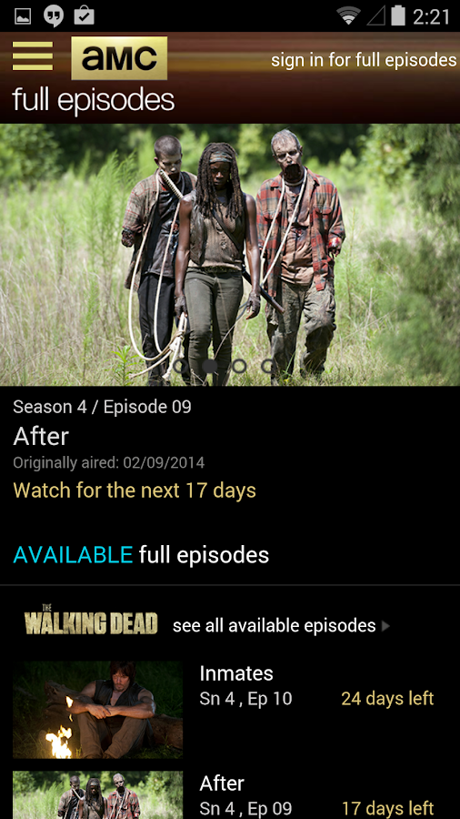 AMC Mobile for phone - screenshot