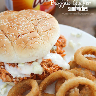 Crock Pot Buffalo Chicken Sandwiches.