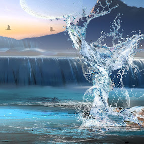 Roya by Felix M - Digital Art People ( water, splash, sun down, frog, green, beauty, chill, ice cold, birds, mermaid, girl, cold, gorgeous, blue, sifi, swan, water fall,  )