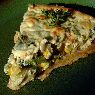 Corn Asparagus Leek Ricotta Tart with Herbed Olive Oil Crust.