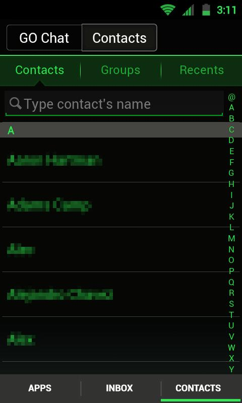 GO SMS THEME -Smooth ICS Green- screenshot