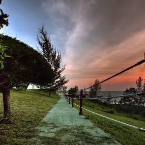 blue red sky by Rob De Eduardo - Landscapes Sunsets & Sunrises ( sky, hdr, sunset, landscape, garden )