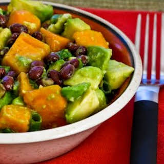 Black Bean Salad with Fuyu Persimmon, Avocado, and Lime-Cumin Vinaigrette.