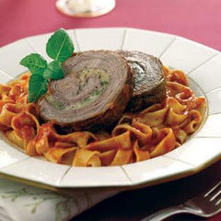 Braised Stuffed Flank Steak With Fettuccine.