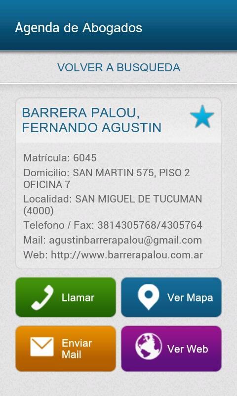 Agenda de Abogados de Tucumán: captura de pantalla