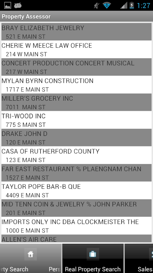 Rutherford County Assessor- screenshot
