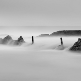 The Illusion of Calm by Bradley Rasmussen - Black & White Landscapes ( water, canon, 70-200, waterscape, black & white, woonona, ocean, surf, slow shutter )