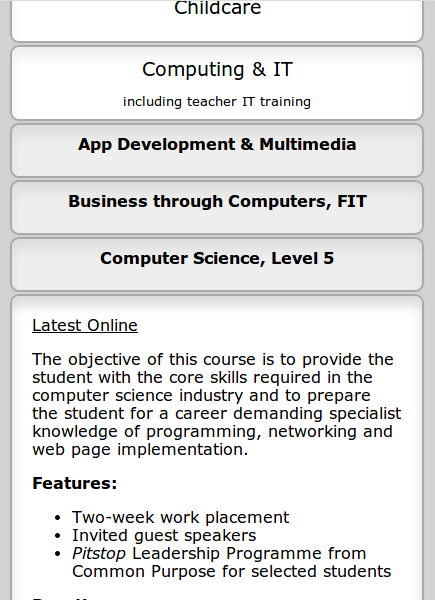 Cork College of Commerce 2014 - screenshot