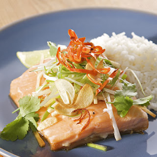 Steamed Arctic Char with Soy, Crispy Garlic, and Chiles.