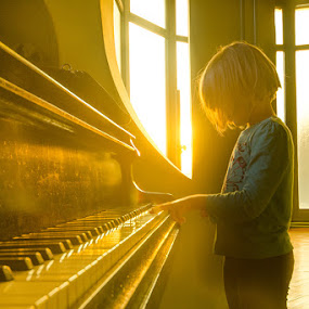 Fantasy by Nikola Lucic - Babies & Children Child Portraits ( child, piano, gallery, beck light, art, mood, kids, gold, sun, portrait )