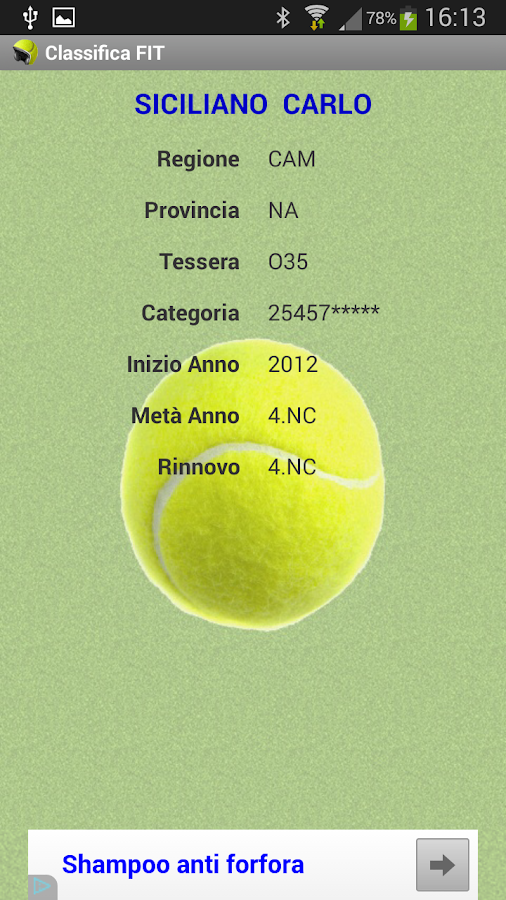 Tennis - Classifica FIT 2018- screenshot