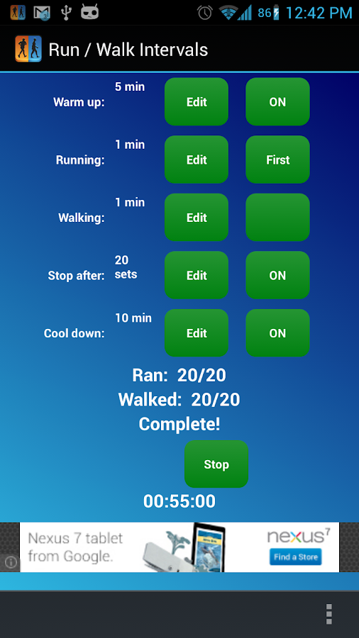 Run / Walk Intervals Timer - screenshot