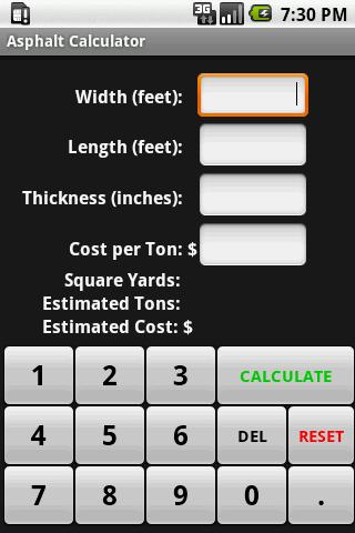 Asphalt Calculator - screenshot