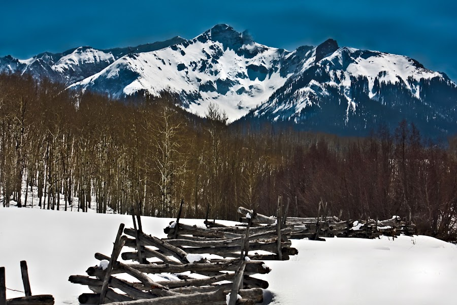 Mt. Sneffles from Last Dollar Road by David Short - Landscapes Mountains & Hills ( winter, colorado, david lee short, the san juans )