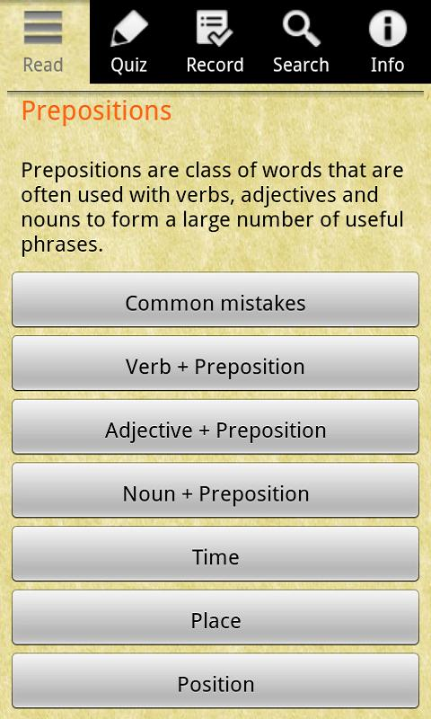 English Grammar -Preposition- screenshot