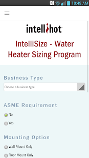 IntelliSize Water Heating Calc- screenshot thumbnail