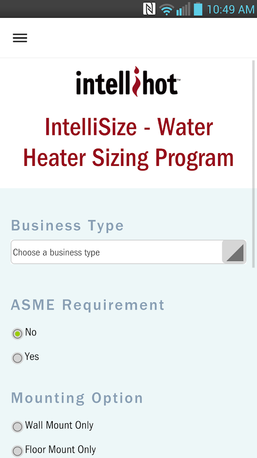 IntelliSize Water Heating Calc- screenshot