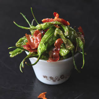 Padrón Peppers with Serrano Ham.