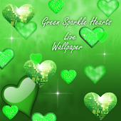 Green Sparkle Hearts Live