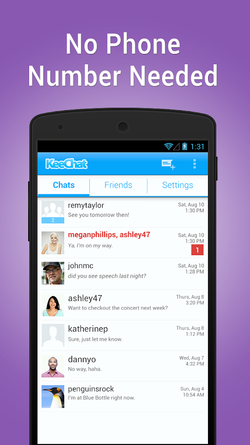KeeChat Messenger - Free chats - screenshot