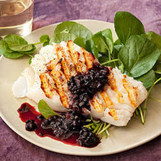 Grilled Cod with Blackberry Sauce.