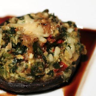 Stuffed Portobello with Balsamic Glaze.