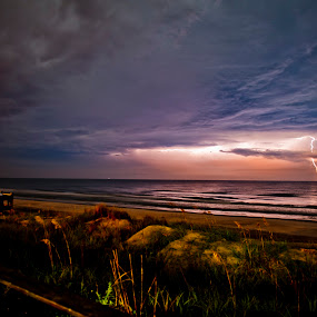 Lightning at the Beach by Mike Lesnick - Landscapes Weather ( lightning, family vacation, nc, family, weather, ocean, beach, topsail, north carolina,  )
