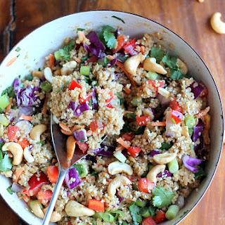 Crunchy Cashew Thai Quinoa Salad with Ginger Peanut Dressing {vegan, gluten-free}